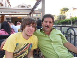 My brother and dad at dinner