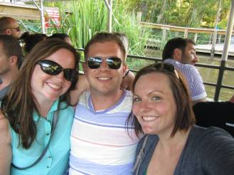 Me, my boyfriend Ryan, and my friend Emily all ready to go on our Swamp Tour